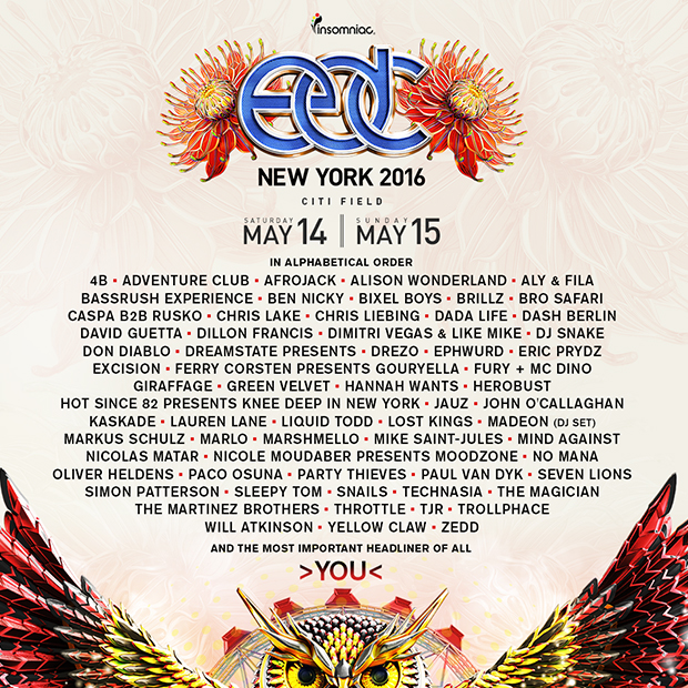Electric Daisy Carnival 2016 Lineup